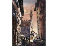 Palazzo Vecchio at sunset in the medieval city of Florence, Italy (print)