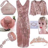 Rose Gold 1920s Flapper Dress Great Gatsby Peacock Style Tassels Dancewear Party