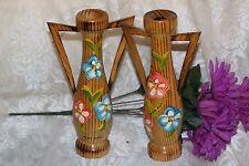 "Pair Vintage TEAK WOOD Bud Vase Two Handles Hand Painted ""Pomte Arche"""