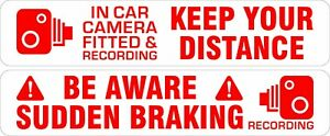 Magnetic Signs Keep Your Distance and Sudden Braking & In Car Camera Recording