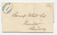 1832 Lebanon PA blue oval handstamp stampless cover to Princeton NJ [5246.108]
