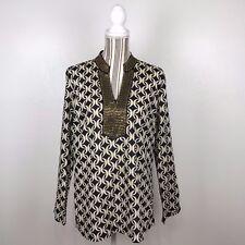 Charter Club Blouse Shirt Top Womens Large Black Gold Links