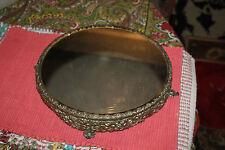 Antique Victorian Silver Metal Circular Footed Vanity Mirror Tray-Floral Design