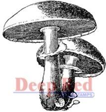 Deep Red Rubber Stamp Alice in Wonderland Mushrooms