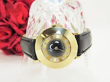Vintage Le Coultre ladies watch 14 k yellow gold w/ diamonds and leather band