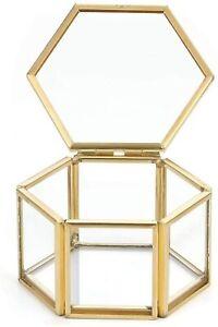 Hexagonal Glass Jewellery Box Jewellery Organiser Display Storage Case Terrarium