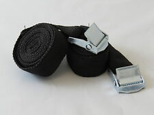 Pack of 2, 2m Luggage Straps/Tie Downs with Metal Cam Buckle, Black