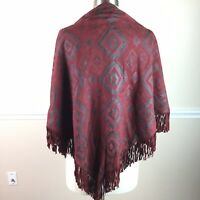 Vtg Alicia Herrera New York Womens Shawl Leather Fringe Burgundy Aztec Suede
