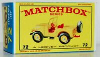 Matchbox Lesney No 72 STANDARD JEEP empty Repro Box style E