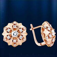 GOLDOHRRINGE Rose Rotgold 585 Ohrringe mit CZ Flocke Stern Neu cluster earrings