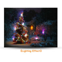 40x30cm LED Light Christmas Tree Canvas Art Picture Printing Houses Wall  US