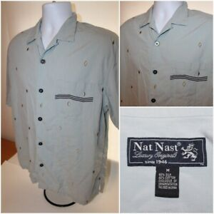 Mens NAT NAST Luxury Originals Short Sleeve Button Bowling Shirt 60% Silk Size M