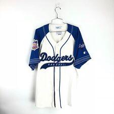 Vintage Starter Los Angeles Dodgers Jersey Large L Blue White LA MLB Script