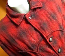 Medium True Vtg 70s Blood Red Buffalo Plaid H Bar C Rancher Coat Men's Usa