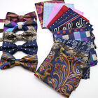Luxury Mens Floral Bowtie Hanky Set Bow Tie Pocket Square Lot For Wedding Party