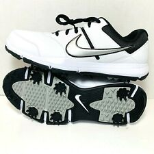NIKE Men's Durasport 4 Golf Shoes White/Black With Spikes