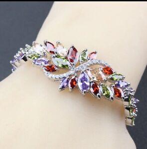 Peridot  Garnet Amethyst  Topaz Multi Gemstones   925 Silver Bracelet