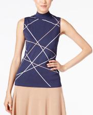 Alfani Women's Mock-Neck Striped Sweater Overlapping Lines Navy Blue