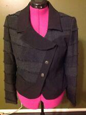 INSIGHT Black jacket Women's Size10 Rayon Poly Modern Coat Fringe Asymmetric