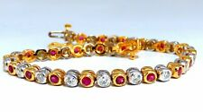 3.84ct Natural Ruby Diamonds Tennis Bracelet Alternating Two Toned