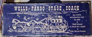 Vintage / Antique Austin Craft Wells Fargo Stage Coach Wooden Model Kit NOS EUC