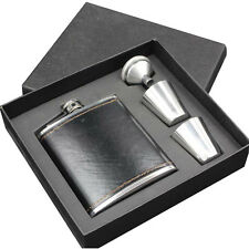 New Hip Flask Retro Faux Leather Cover Pocket Vodka Bottle Funnel Cups Gift Box