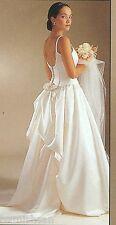 Jessica McClintock Ivory Satin Wedding Dress Gown w Bustle and Train Sz 6
