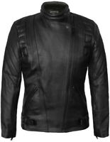 SKINTAN Ladies Leather Motorcycle CE Armoured Women Motorbike Black Biker Jacket