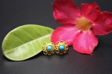 STUNNING SOLID 22K HOOK GOLD EARRING w. TURQUOISE
