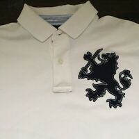 Tommy Hilfiger Men's  Large White Short Sleeve Polo With Giant Crest On Front
