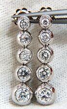 $10,000 2.04ct NATURAL ROUND DIAMONDS BEZEL FLUSH 5 TIER DANGLE EARRINGS JAZZ