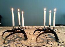 Set of 2 Stag Antler 3-Arm Candelabra Candle Holders