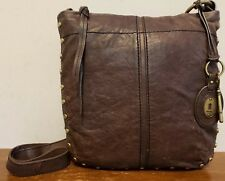 VTG FOSSIL Sm Distressed Brown Leather Crossbody w/Gold Accents & Nice Key Fob!