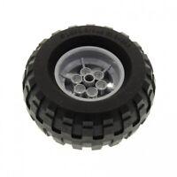1 x Lego Technic Rad schwarz 81.6x38 R Ballon Reifen Felge mit 6 Pin Löchern neu
