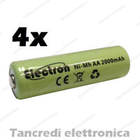 4pz Batteria Stilo AA 2000 mAh mA ricaricabile rechargeable battery Ni-Mh NiMh