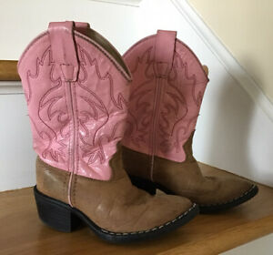Toddler Girls Old West Pink Cowboy Boots Size 10 ? Leather Boots 8139