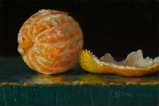 small original daily painting impressionism still life orange peeled 6x4, Y Wang