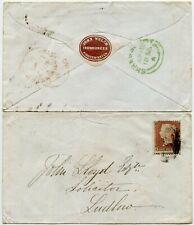 GB 1855 RED + GREEN TOWN DATESTAMPS KIDDERMINSTER SHREWSBURY LUDLOW JOHN WELCH