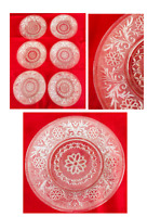 "VINTAGE Indiana Glass 8"" Plates Clear Daisy Scroll Set of 6"