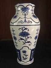 19th Century Faience Delft Style Tin Glazed Earthenware Oriental Vase Signed