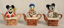 3 Disney Santa Tiny Teapot Ornament By Paul Carde W - Mickey & Donald