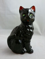 VINTAGE JAPAN REDWARE BLACK CAT FIGURINE w/GREEN RHINESTONE EYES - c. 1950's