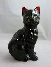 VINTAGE JAPAN REDWARE BLACK CAT FIGURINE w/GREEN RHINESTONE EYES - c. 1950's
