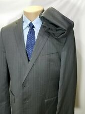 ERMENEGILDO ZEGNA SHANG CLOTH GRAY PINSTRIPES WOOL SILK 2 BUTTONS 44R 36X31 FLAT