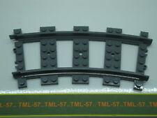 Légo TRAIN LEGO CITY - RAIL courbe en plastique gris foncé COURBE - Lot de 15