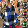 Women's V-Neck Plaid T Shirt Tops Ladies Casual Long Sleeve Blouse Tee Plus Size