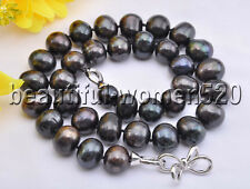 Z8298 15mm Black Round Freshwater Cultured Pearl Necklace 19inch