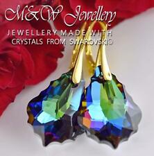 Gold Plated Silver Earrings *BAROQUE* Meridian Blue Crystals From Swarovski®