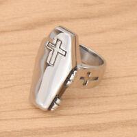 Rock Punk Cross Rings Stainless Steel Men Women Silver Coffin Finger Ring Gifts