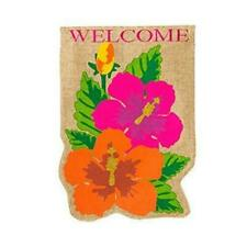 Evergreen Garden Regular Burlap Tropical Flowers Flag 28x0.5x44 Inches